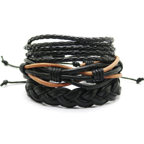1 Set 4PCS leather bracelet Men's multi-layer bead bracelet women's retro punk casual men's jewelry bracelet jewelry accessories-Devices Depot-HYG36A-KoolWish.com