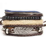 1 Set 4PCS leather bracelet Men's multi-layer bead bracelet women's retro punk casual men's jewelry bracelet jewelry accessories-Devices Depot-KoolWish.com