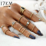 17KM 12pcs / sets Fashion Vintage Punk Midi Rings Set Antique Gold Color Boho Style Female Charms Jewelry Ring For Women-Jewelries-Devices Depot-KoolWish.com