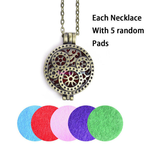 1pcs Aroma Diffuser Necklace Open Antique Vintage Lockets Pendant Perfume Essential Oil Aromatherapy Locket Necklace With Pads-Necklaces-Devices Depot-1-KoolWish.com