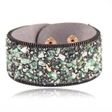 2015 Hot Ssle Fashion women charm wrap Bracelets Slake Leather Bracelets With Crystals Stone Couple Jewelry Size 2.8*21cm-Devices Depot-green-KoolWish.com