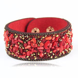 2015 Hot Ssle Fashion women charm wrap Bracelets Slake Leather Bracelets With Crystals Stone Couple Jewelry Size 2.8*21cm-Devices Depot-red-KoolWish.com