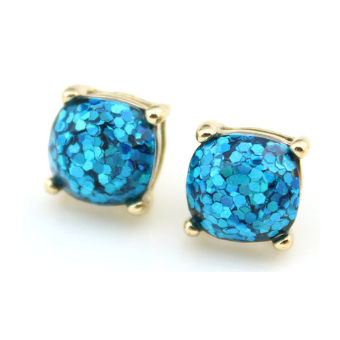 2016 Boxed Glitter Stud Earrings Women Jewelry Gold Kate New York Small Square Earrings Obsessed Party Earrings 14 Colors Option-Earrings-Devices Depot-Gold Aqua-KoolWish.com