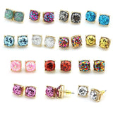 2016 Boxed Glitter Stud Earrings Women Jewelry Gold Kate New York Small Square Earrings Obsessed Party Earrings 14 Colors Option-Earrings-Devices Depot-KoolWish.com