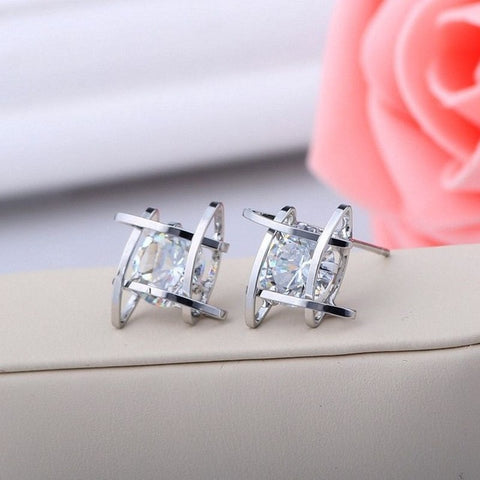 2016 Fashion Exquisite Square Pierced Crystal Zircon Stud Earrings Jewelry For women Ear Studs Gifts Free shipping-Earrings-Devices Depot-Silver Plated-KoolWish.com