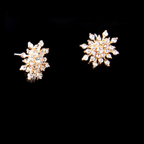 2016 New!!! Ladies Crystal Snow Flake Bijoux Statement Stud Earrings For Women Earring Fashion Jewelry Free Shipping E271-Earrings-Devices Depot-Gold-KoolWish.com