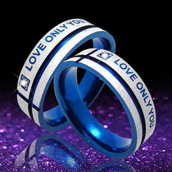 2016 New Unisex Blue Love Only You Cross Titanium Steel Engagement Wedding Band Ring-Jewelries-Devices Depot-10-KoolWish.com