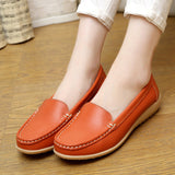 2016 New Women's Genuine Leather shoes Lady flat Leather Slip on Casual Loafers shoes Red White Black size 35-41 Hot sale shoes-Devices Depot-Orange-5-KoolWish.com
