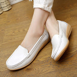 2016 New Women's Genuine Leather shoes Lady flat Leather Slip on Casual Loafers shoes Red White Black size 35-41 Hot sale shoes-Devices Depot-White-5-KoolWish.com