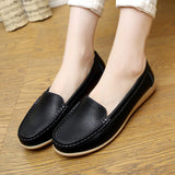 2016 New Women's Genuine Leather shoes Lady flat Leather Slip on Casual Loafers shoes Red White Black size 35-41 Hot sale shoes-Devices Depot-Black-5-KoolWish.com