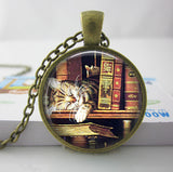 2017 Collares Collier Library Book Case Necklacevintage Style Gift For Students Teachers And Librarians Necklace ,old Books-Devices Depot-2-KoolWish.com