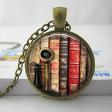 2017 Collares Collier Library Book Case Necklacevintage Style Gift For Students Teachers And Librarians Necklace ,old Books-Devices Depot-3-KoolWish.com