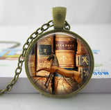 2017 Collares Collier Library Book Case Necklacevintage Style Gift For Students Teachers And Librarians Necklace ,old Books-Devices Depot-5-KoolWish.com