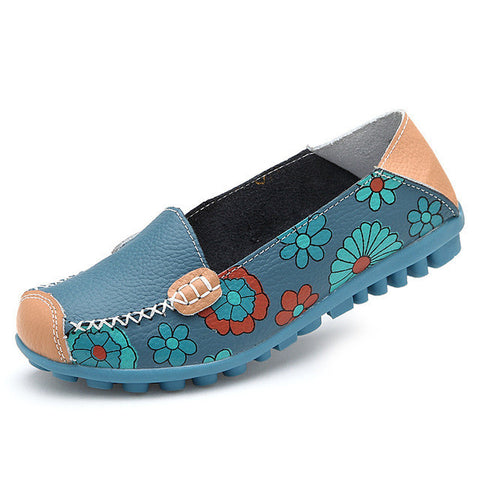 2017 Cow Muscle Ballet Summer Flower Print Women Genuine Leather Shoes Woman Flat Flexible Nurse Peas Loafer Flats Appliques-Devices Depot-blue-4.5-KoolWish.com