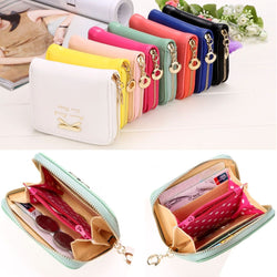 2017 High quality Brand Wallet Women Bowknot Decorate Small Purse PU Artificial Leather Wallet Female Zipper Coin Wallet-Devices Depot-KoolWish.com