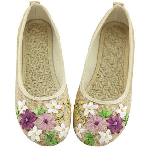 2017 New Women Flower Flats Slip On Cotton Fabric Casual Shoes Comfortable Round Toe Student Flat Shoes Woman Plus Size XWD3644-Devices Depot-beige-4.5-KoolWish.com