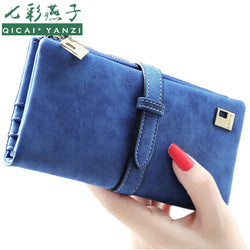 2017 Rushed Brand Lady Bags Women Wallets Purse Matte Drawstring Nubuck Handbags Leather Zipper Long Two Fold Clutch Card Holder-Devices Depot-01 Purple-KoolWish.com