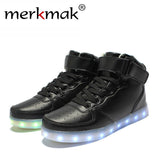 2017 Super Hot Men Fashion Luminous LED Shoes High Quality Lights Up USB Charging Colorful Shoes Lovers Casual Flash Flats-Devices Depot-black led sneakers-4-KoolWish.com