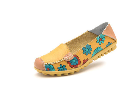 4 Color Women Casual Genuine leather Boat Comfortable Soft Gommino Flat Ventilation Fashion Printing Flat Slip on Shoes 35-40-Devices Depot-Yellow-4.5-KoolWish.com