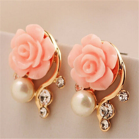 Ahmed Jewelry New Brand Design Alloy Rose Pearl Stud Earrings For Women 2017 New Accessories Wholesale-Earrings-Devices Depot-Color A-KoolWish.com