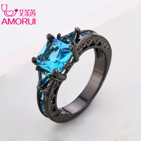 AMORUI Fashion Wedding Hollow Rings for Women Vintage Blue CZ Stone Ring Bague Femme Black Gold Color Engagement Ring Anillos-Jewelries-Devices Depot-10-Blue-Black Gun Plated-KoolWish.com
