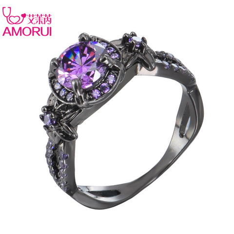 AMORUI Trendy Wedding Bands Alloy Black Gun Color Purple Cubic Zircon Rings for Women Fashion Party Engagement Ring jewellery-Jewelries-Devices Depot-10-Purple-KoolWish.com