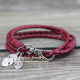 Anslow Wholesale Fashion Jewelry Leather Charm Friendship Bracelets & Bangles Feather Bracelet For Women Men12 Colors LOW0172LB-Devices Depot-wine red-KoolWish.com
