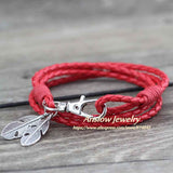 Anslow Wholesale Fashion Jewelry Leather Charm Friendship Bracelets & Bangles Feather Bracelet For Women Men12 Colors LOW0172LB-Devices Depot-Red-KoolWish.com