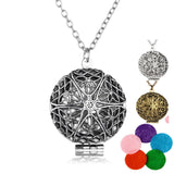 Aromatherapy Locket Necklace Silver/Bronze color with Madala Flower Shaped Pendant Oil Essential Diffuser Necklace for Women-Necklaces-Devices Depot-WG62700-KoolWish.com