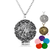 Aromatherapy Locket Necklace Silver/Bronze color with Madala Flower Shaped Pendant Oil Essential Diffuser Necklace for Women-Necklaces-Devices Depot-WG62690-KoolWish.com