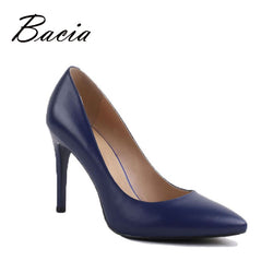 Bacia 9.8cm High Heels Pumps Sheepskin Handmade Luxury Hot Fashion Shoes Genuine Leather Female Ladies Pumps Russian Size VC010-Devices Depot-Pink-6-KoolWish.com