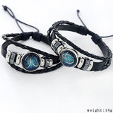 Black Leather Zodiac 12 Constellation Zodiac Sign with beads zodiac Bracelet leather bracelet SL-459-Devices Depot-Aries-KoolWish.com