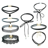 Black Velvet Choker Necklace Tattoo Lace Collar Necklace for Women Jewelry-Necklaces-Devices Depot-8set-KoolWish.com