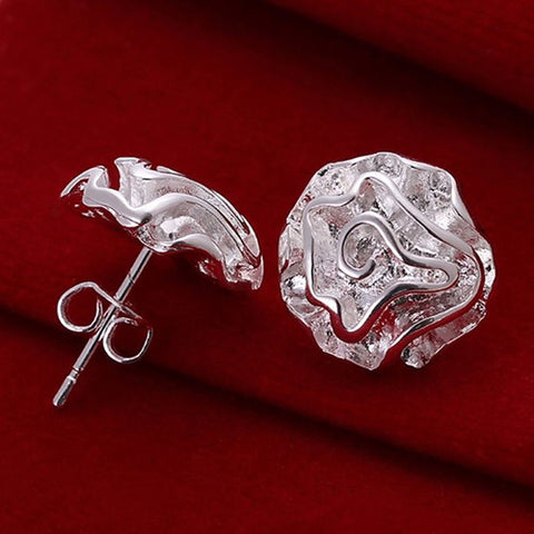 Bluelans Persinality Girl's Silver Plated Rose Flower Studs Earrings for fashion Accessory-Earrings-Devices Depot-China-KoolWish.com
