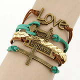 Charm Vintage Multilayer Charm Leather Bracelet Women Owl Cross Believe Bracelets Cheap Statement Jewelry Lady Best Friends Gift-Devices Depot-62Q41-KoolWish.com