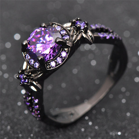Charming Stone Ring Purple Zircon Fashion Women Wedding Flower Jewelry Black Gold Filled Engagement Rings Bague Femme RB0433-Jewelries-Devices Depot-10-Purple-KoolWish.com