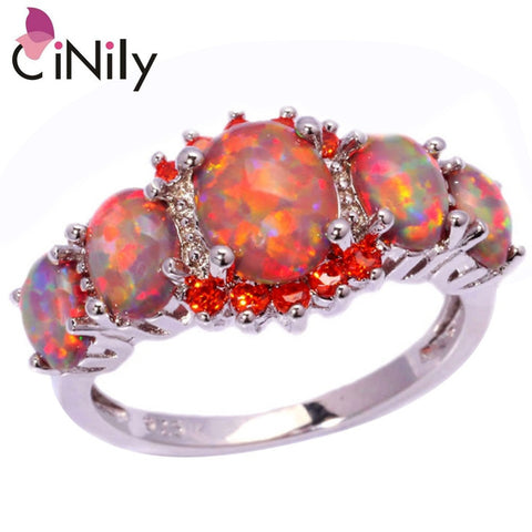 CiNily Orange Fire Opal Orange Garnet Silver Plated Ring Wholesale Wedding Party Gift for Women Jewelry Ring Size 5-12 OJ4576-Jewelries-Devices Depot-10-KoolWish.com