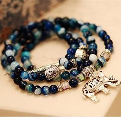 Dominated natural crystal bracelet female vintage fashion multi-layer blue tourmaline buddha head bracelet-Devices Depot-KoolWish.com