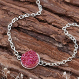 "DoreenBeads Resin Druzy /Drusy Bracelets Silver color & Antique Silver Green Round 17cm(6 6/8"") long Boho Woman, 1 Piece-Devices Depot-rose red-KoolWish.com"