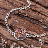 "DoreenBeads Resin Druzy /Drusy Bracelets Silver color & Antique Silver Green Round 17cm(6 6/8"") long Boho Woman, 1 Piece-Devices Depot-fuchsia-KoolWish.com"