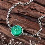 "DoreenBeads Resin Druzy /Drusy Bracelets Silver color & Antique Silver Green Round 17cm(6 6/8"") long Boho Woman, 1 Piece-Devices Depot-green-KoolWish.com"