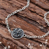 "DoreenBeads Resin Druzy /Drusy Bracelets Silver color & Antique Silver Green Round 17cm(6 6/8"") long Boho Woman, 1 Piece-Devices Depot-gray-KoolWish.com"