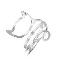 Dropshipping 925 sterling silver personalized silver wound drawing cute cat ring-Jewelries-Devices Depot-Ring-China-KoolWish.com