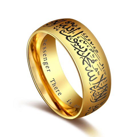 eejart Muslim Allah Shahada One Stainless Steel Ring for Men Islam Arabic God Messager Black Gold Band Muhammad Quran Middle-Jewelries-Devices Depot-7-gold-KoolWish.com