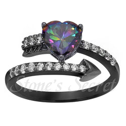 Elegant Rainbow Cubic Zirconia Black Gun Plated Romantic Cupid Arrow Heart Ring Cocktail Ring Valentine's Day Gift Party Ring-Jewelries-Devices Depot-10-Multi-China-KoolWish.com