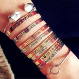 Fashion accessories jewelry brave letter wish design cuff bangle lovers' gift B3401-Devices Depot-KoolWish.com