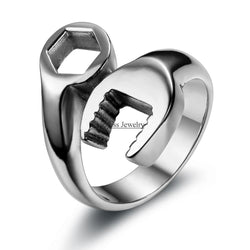 Fashion Cool Biker Mechanic Wrench Stainless Steel Mens Ring Punk Style Rings for men Size 8-13 anel masculino-Jewelries-Devices Depot-10-Silver-China-KoolWish.com