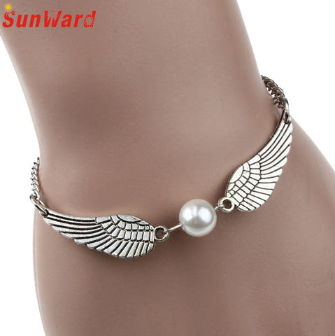 Fashion Jewelry Retro Simulated Pearl Angel Wings Charm Bracelet for Women Delicate New Arrival-Devices Depot-KoolWish.com