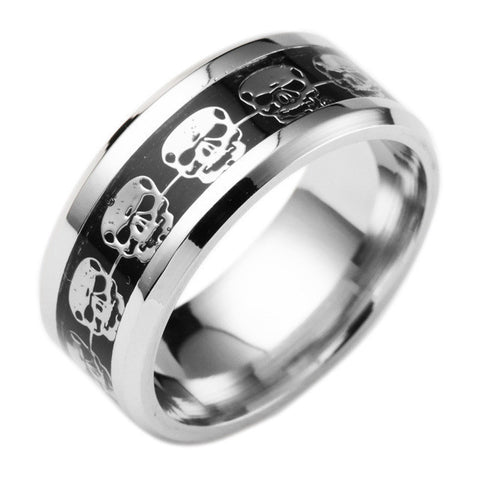 Fashion Mens Jewelry Never Fade Stainless Steel Skull Ring Gold Filled Blue Black Skeleton Pattern Man Biker Rings Men Gift 2016-Jewelries-Devices Depot-13-Beige-KoolWish.com