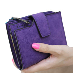 Fashion Small Female Purse short purse Lady Letter Snap Fastener Zipper Short Clutch Wallet Solid Vintage Matte Women Wallet-Devices Depot-KoolWish.com
